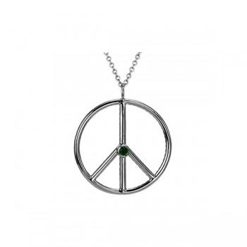 Sasha Primak Reversible Pave Diamond/Bezel-Set Emerald Peace Symbol Pendant