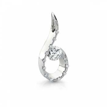 Gelin & Abaci 14K White Gold Diamond Pendant TN-055