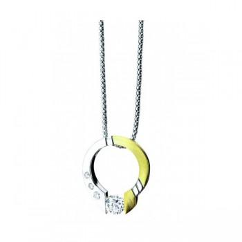Gelin & Abaci 14K White And Yellow Gold Diamond Pendant TN-004