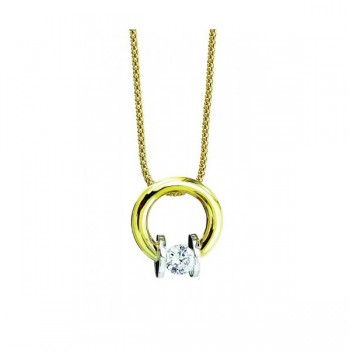 Gelin & Abaci 14K White And Yellow Gold Diamond Pendant TN-005
