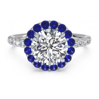 French-set Sapphire Halo Diamond Band Engagement Ring in 18kt Yellow Gold (0.24 CTW) with mm stones