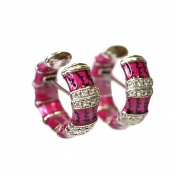 Pink enamel and diamond earrings