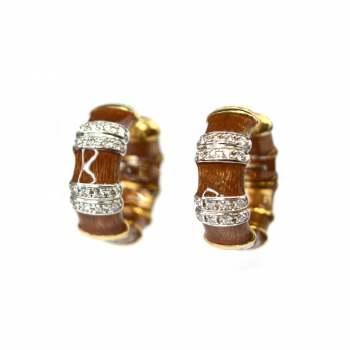 Enamel and diamond earrings