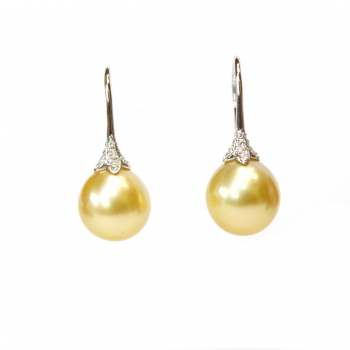 Yellow Pearl Earrings with Diamond Accent
