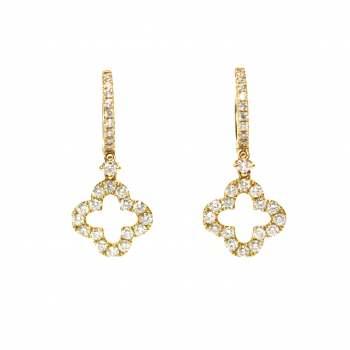 1.12 Carat Diamond Clover Earrings - Yellow Gold
