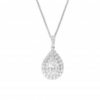Pear Shaped Diamond Pendant with Double Halo