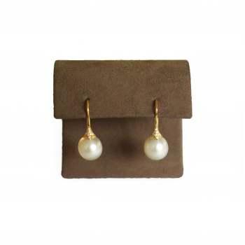 White Pearl and Yellow Gold Diamond Earrings