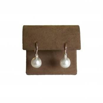 White Pearl and Diamond Earrings
