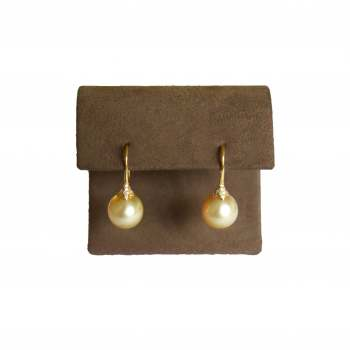 Yellow Pearl and Diamond Earrings