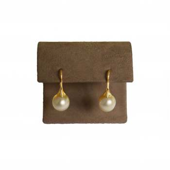 Yellow Pearl and Gold Earrings