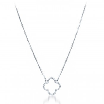 Pave Open Clover Necklace