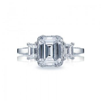 Tacori Dantela Collection Three Stone Emerald Cut Ring 2621ECLG