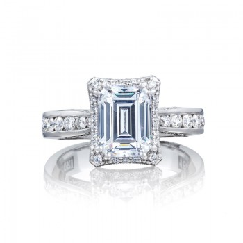 Tacori Dantela Collection Classic Emerald Cut Engagement Ring 2646-35EC85X65