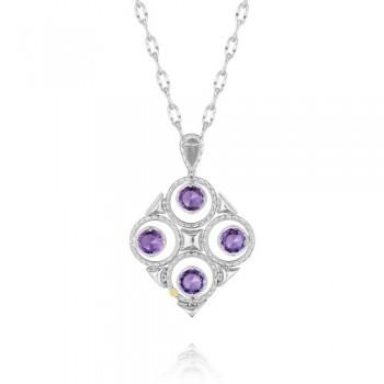 Tacori Lilac Blossoms Petite Silver Crescent Bloom Necklace