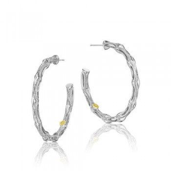 Tacori Classic Rock Bold Silver Crescent Hoop Earring