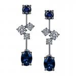 Sasha Primak Cascade Collection Sapphire and Diamond Dangling Earrings