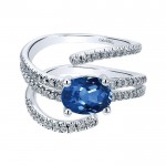 14k White Gold Diamond And Sapphire Fashion Ladies' Ring