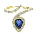 14k Yellow Gold Diamond And Sapphire Fashion Ladies' Ring