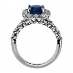 """Sasha Primak Sapphire Nine-Stone """"Royal Prong"""" Cushion Halo Diamond Engagement Ring"""