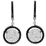 1.94 Carat White and Black Diamond Earrings