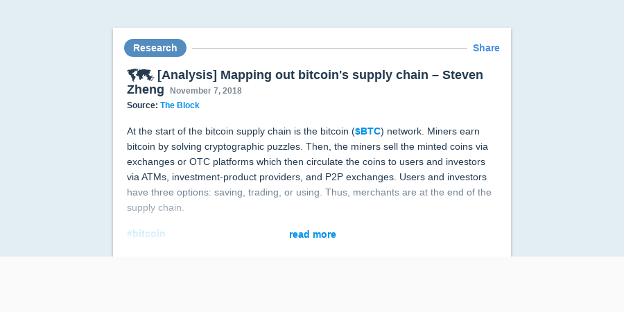 Analysis Mapping Out Bitcoin S Supply Chain Steven Zheng -