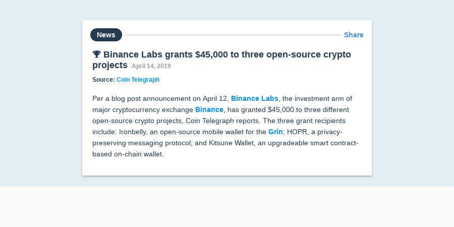 🏆 Binance Labs grants $45,000 to three open-source crypto