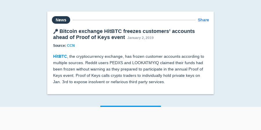 🔑 Bitcoin exchange HitBTC freezes customers' accounts ahead of