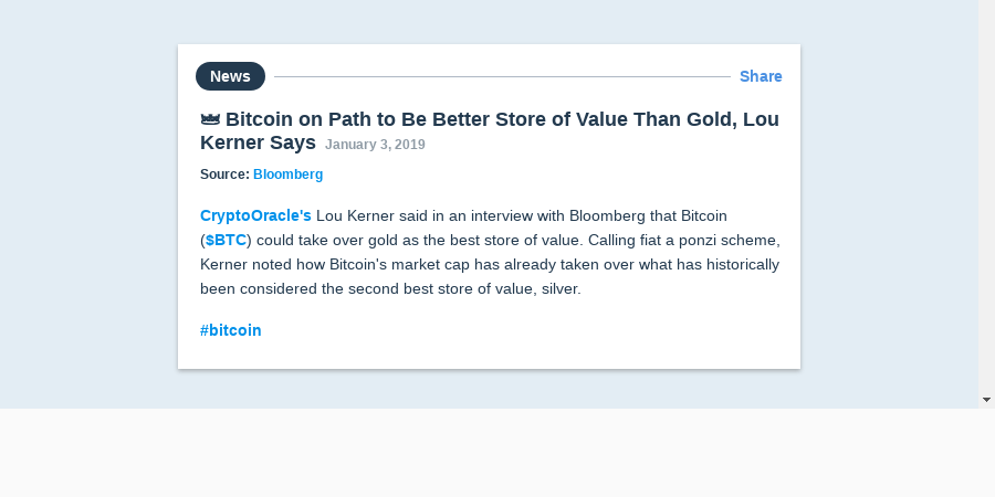 👑 Bitcoin on Path to Be Better Store of Value Than Gold