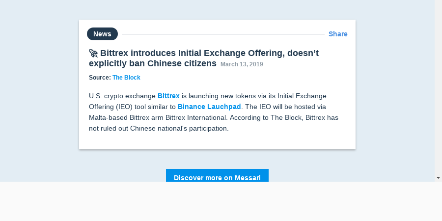 🚀 Bittrex introduces Initial Exchange Offering, doesn't