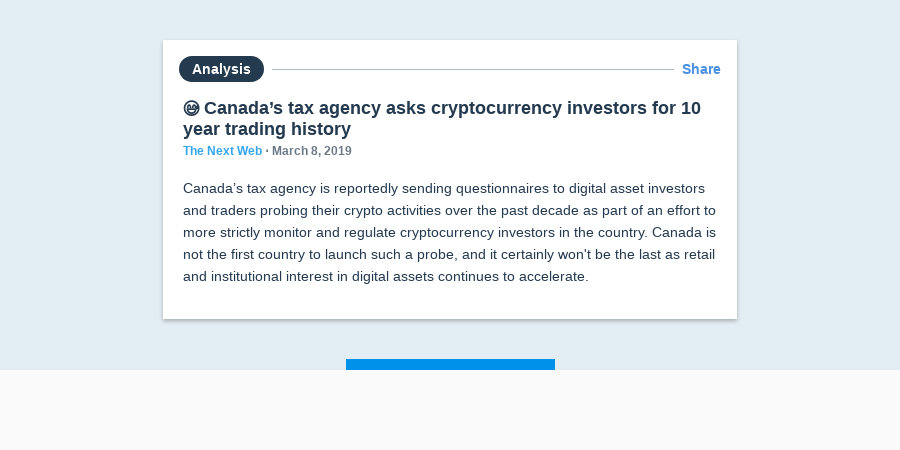 😅 Canada's tax agency asks cryptocurrency investors for 10 year