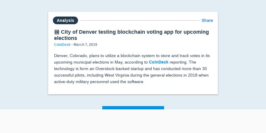 🆗 City of Denver testing blockchain voting app for upcoming