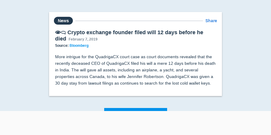👁️ 🗨️ Crypto exchange founder filed will 12 days before he died
