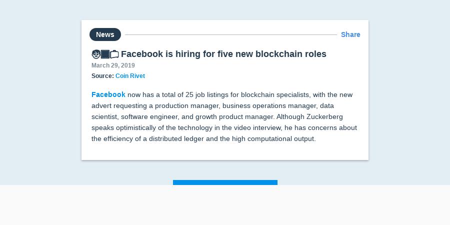 Facebook Is Hiring For Five New Blockchain Roles Article | Messari