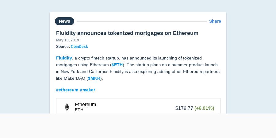 Fluidity announces tokenized mortgages on Ethereum | Messari