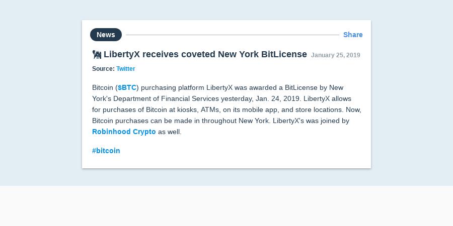 🗽 LibertyX receives coveted New York BitLicense | Messari