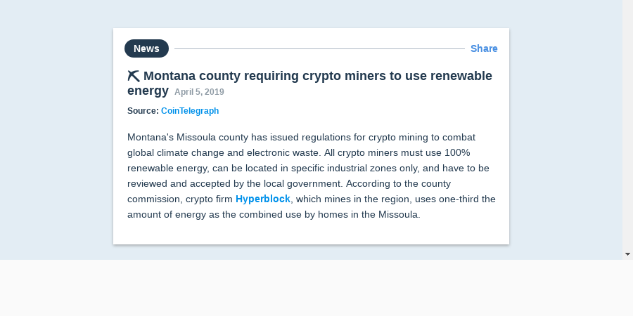 ⛏️ Montana county requiring crypto miners to use renewable