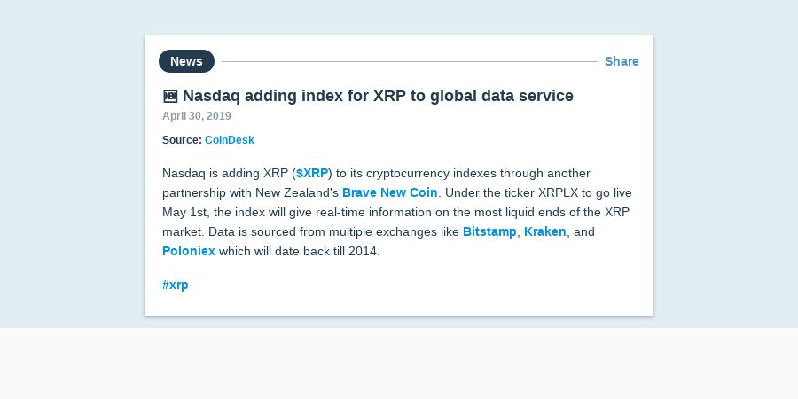 🆕 Nasdaq adding index for XRP to global data service | Messari