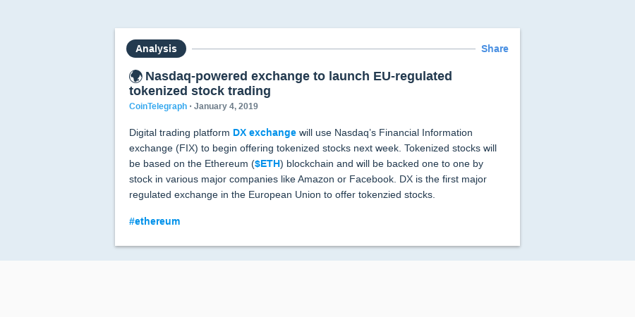 🌍 Nasdaq-powered exchange to launch EU-regulated tokenized