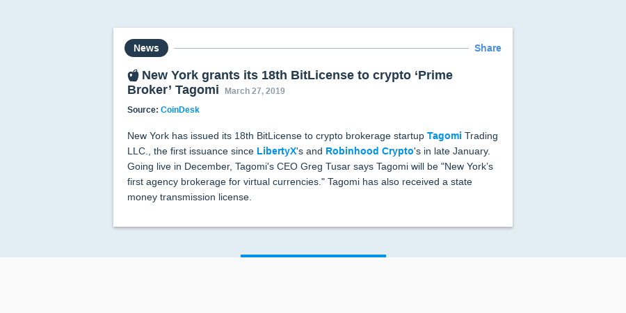 🍎 New York grants its 18th BitLicense to crypto 'Prime Broker