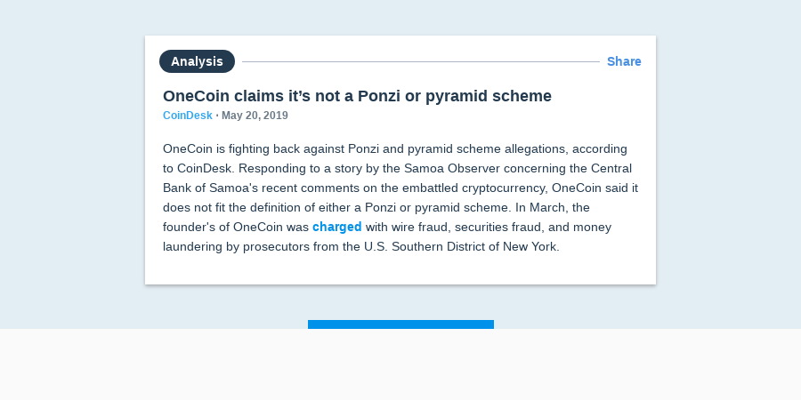 OneCoin claims it's not a Ponzi or pyramid scheme | Messari