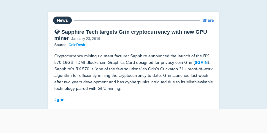 💎 Sapphire Tech targets Grin cryptocurrency with new GPU