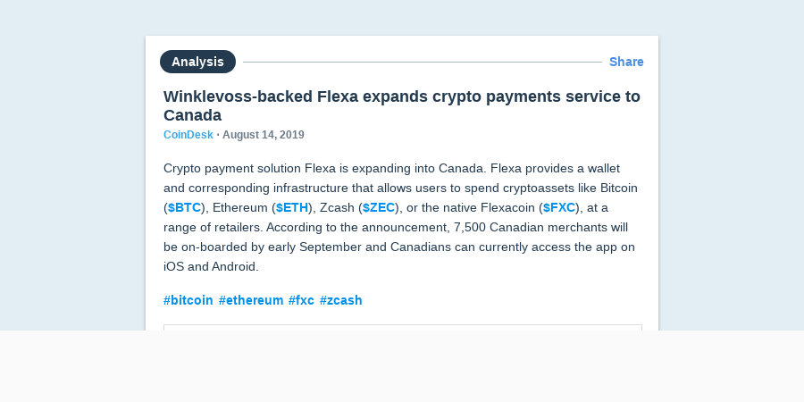 Winklevoss-backed Flexa expands crypto payments service to