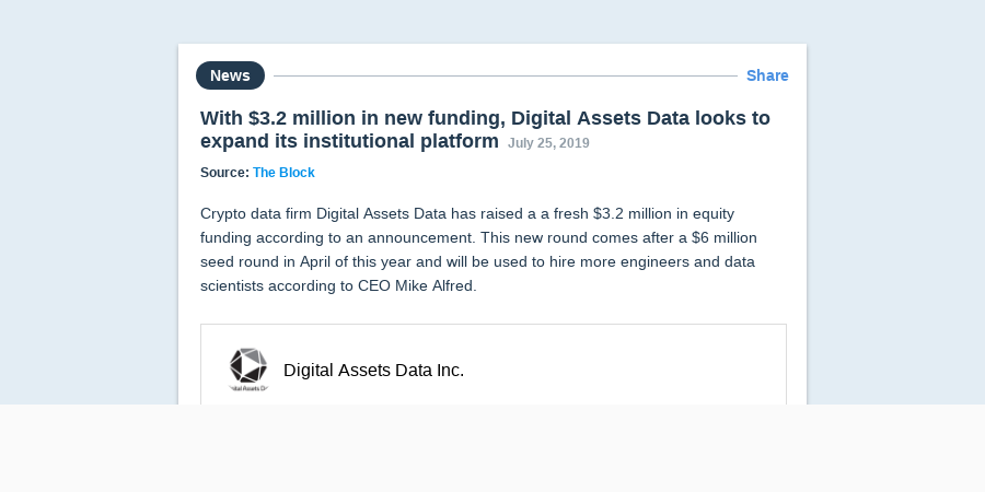 With $3 2 million in new funding, Digital Assets Data looks