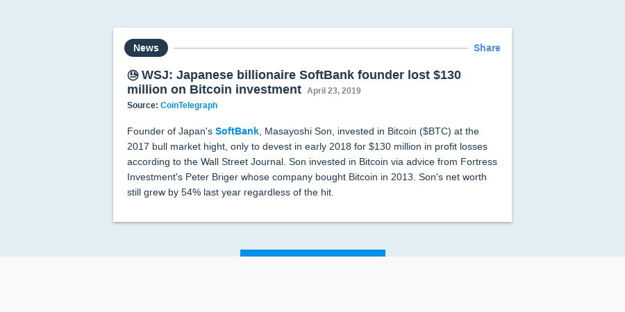 😓 WSJ: Japanese billionaire SoftBank founder lost $130