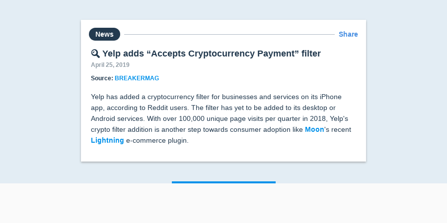 """🔍 Yelp adds """"Accepts Cryptocurrency Payment"""" filter 