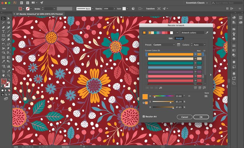 Como criar paletas e variações do cor com Recolor Artwork