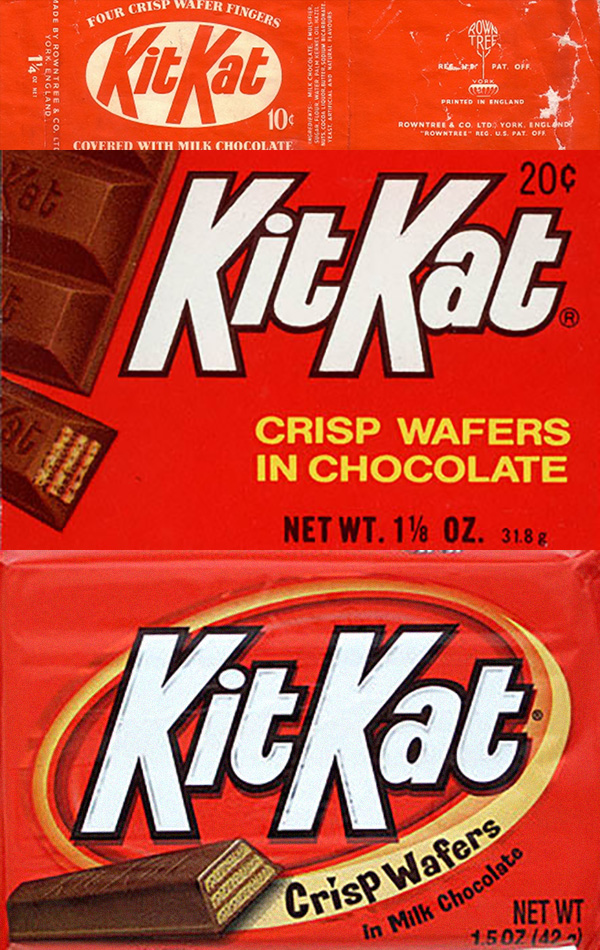 See how your favorite candy bar wrappers evolved over the decades