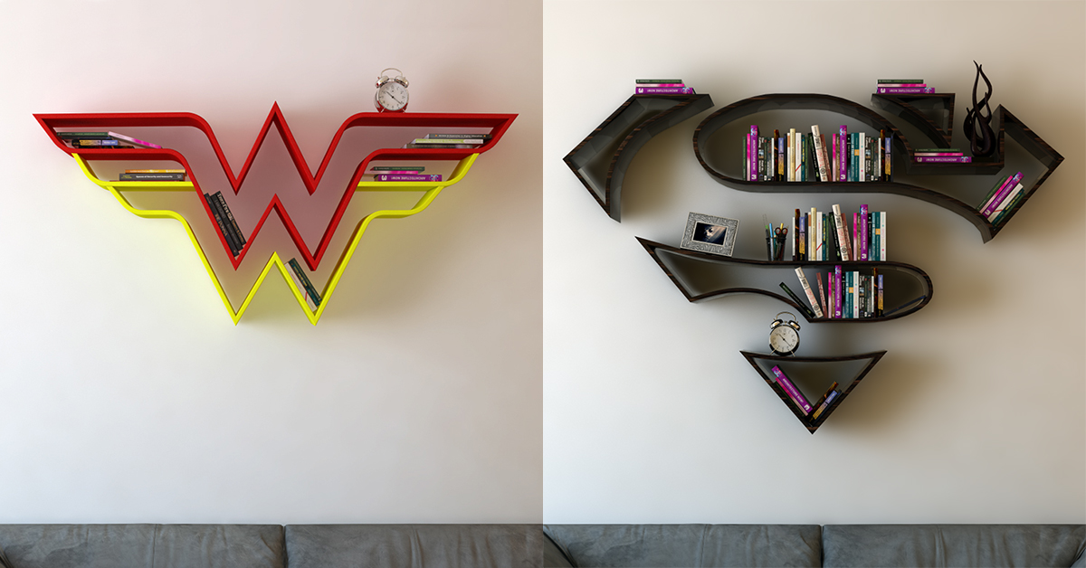These Wonder Woman Superman Bookshelves Are Perfect For