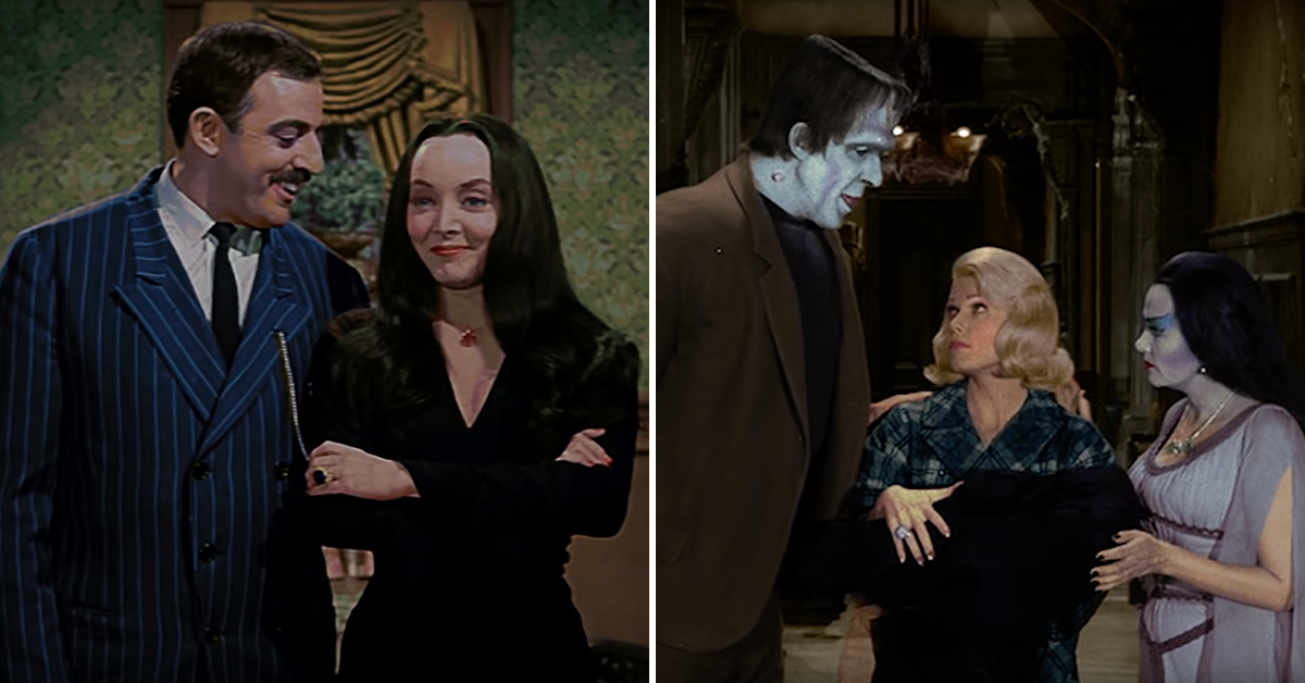 we cant keep our eyes off these colorized versions of the munsters and the addams family - Munsters Halloween Episode