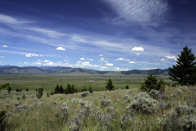 Sage Grasslands. Meyer Ranch buildings in the distance